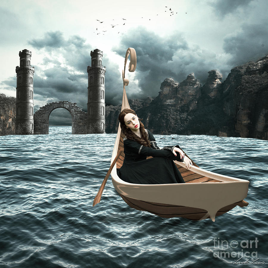 Water Faerie Digital Art - Lady Of Llyn-y-fan Fach by Linda Lees