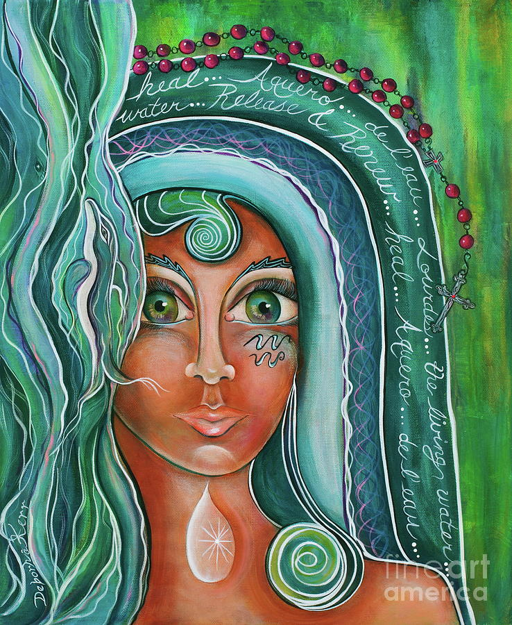 Contemporary Symbolism Painting - Lady Of Lourdes Madonna by Deborha Kerr