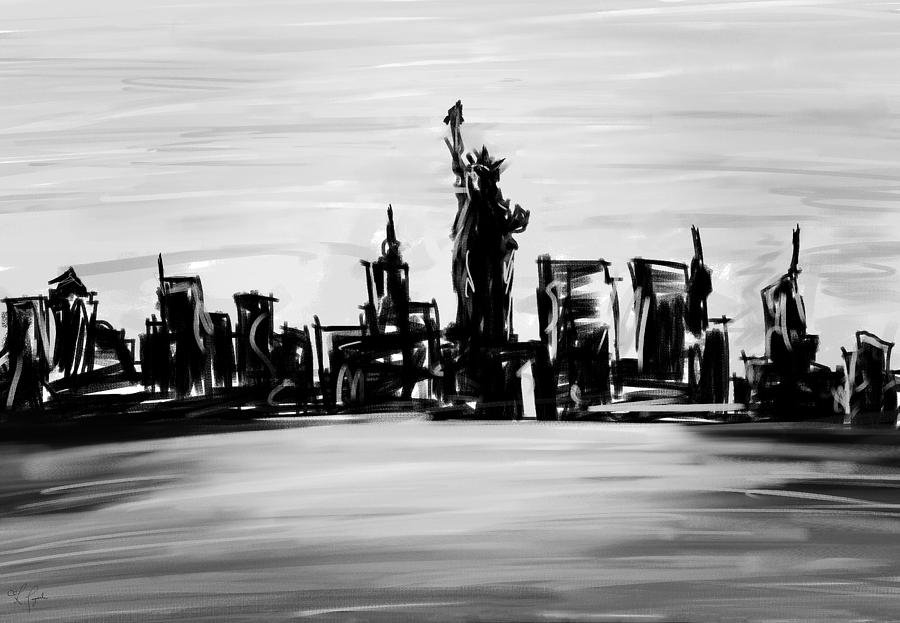 Lady Of New York- Black And White Painting