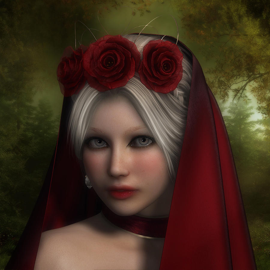 Red Hood Digital Art - Lady Of Roses by Rachel Dudley