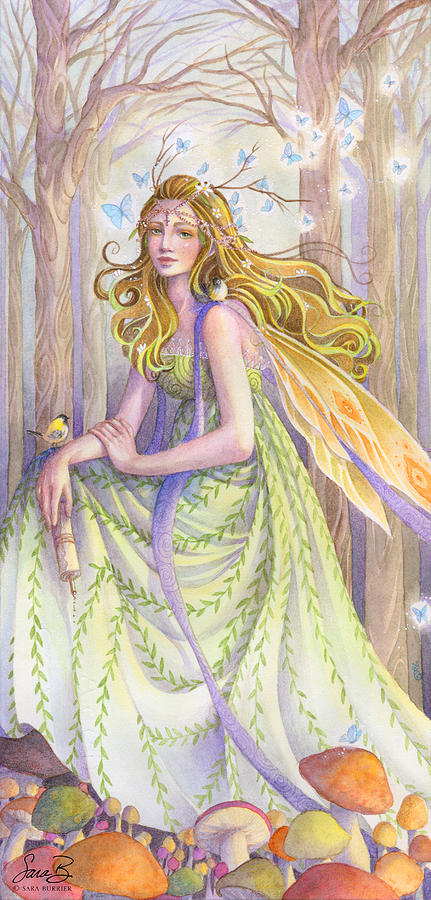 Fairy Painting - Lady Of The Forest by Sara Burrier