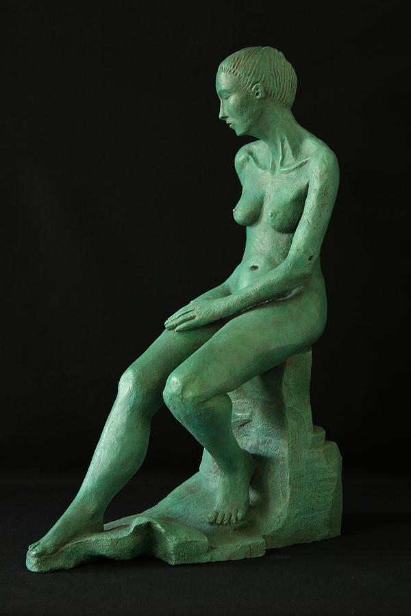 Nude Sculptures Sculpture - Lady On The Rock by Flow Fitzgerald