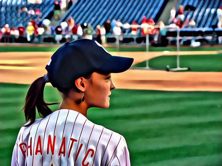 Phanatic Philly Lady Baseball Portrait Alicegipsonphotographs Photograph - Lady Phanatic by Alice Gipson
