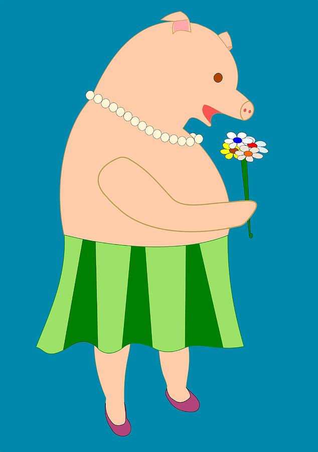 Pig Drawing - Lady Pig Smelling Flower by John Orsbun