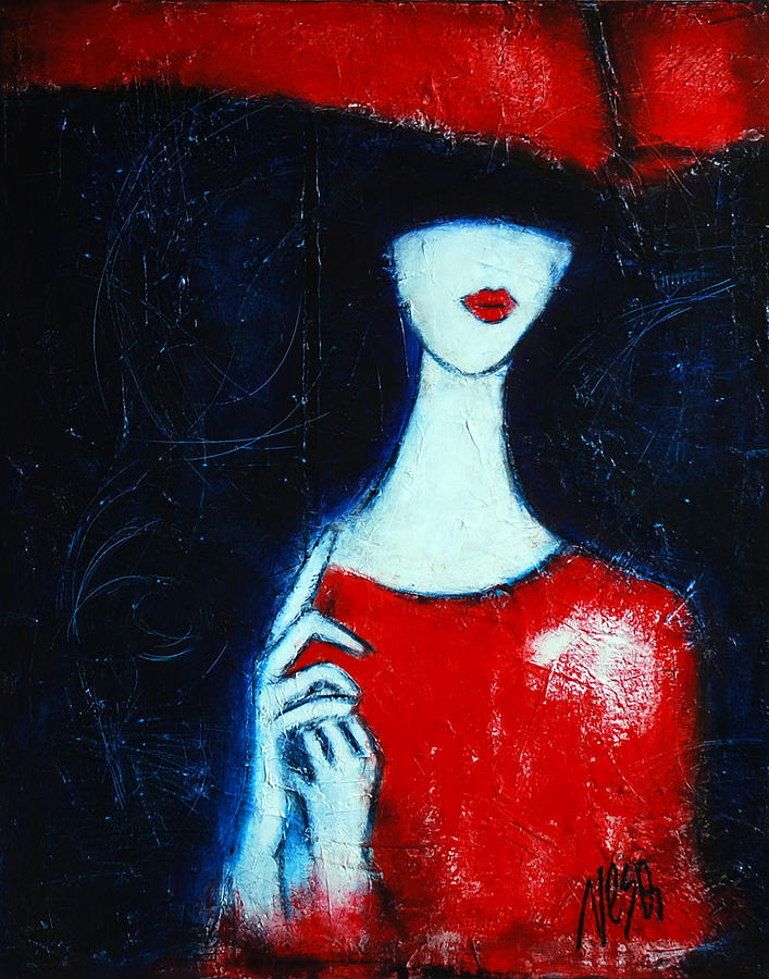 Lady under a red umbrella painting by nebojsa jovanovic for Painting red umbrella