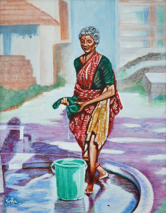 Lady Painting - Lady Washing Clothes by Usha Shantharam