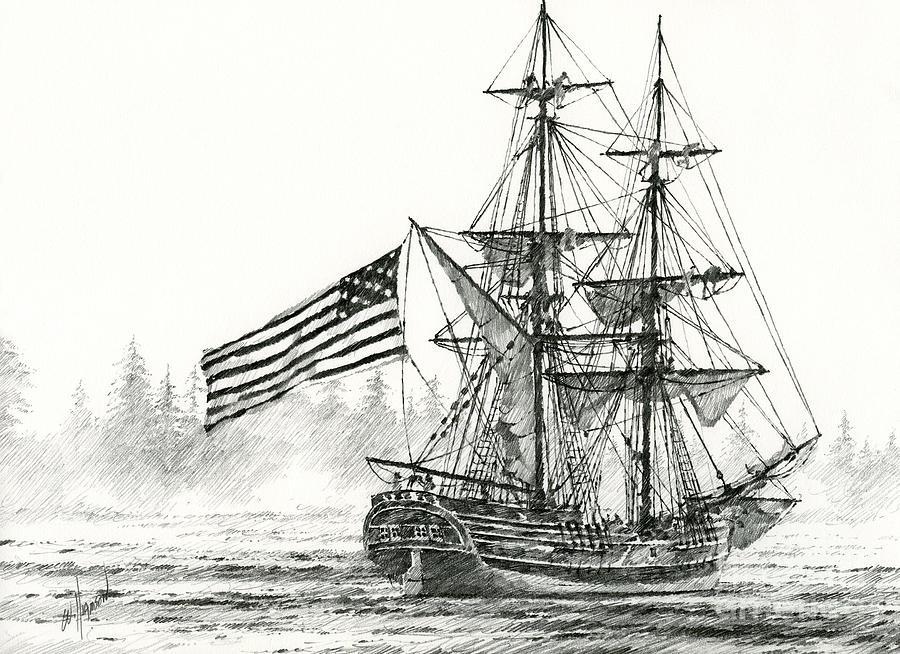 Maritime Print Drawing - Lady Washington At Friendly Cove by James Williamson