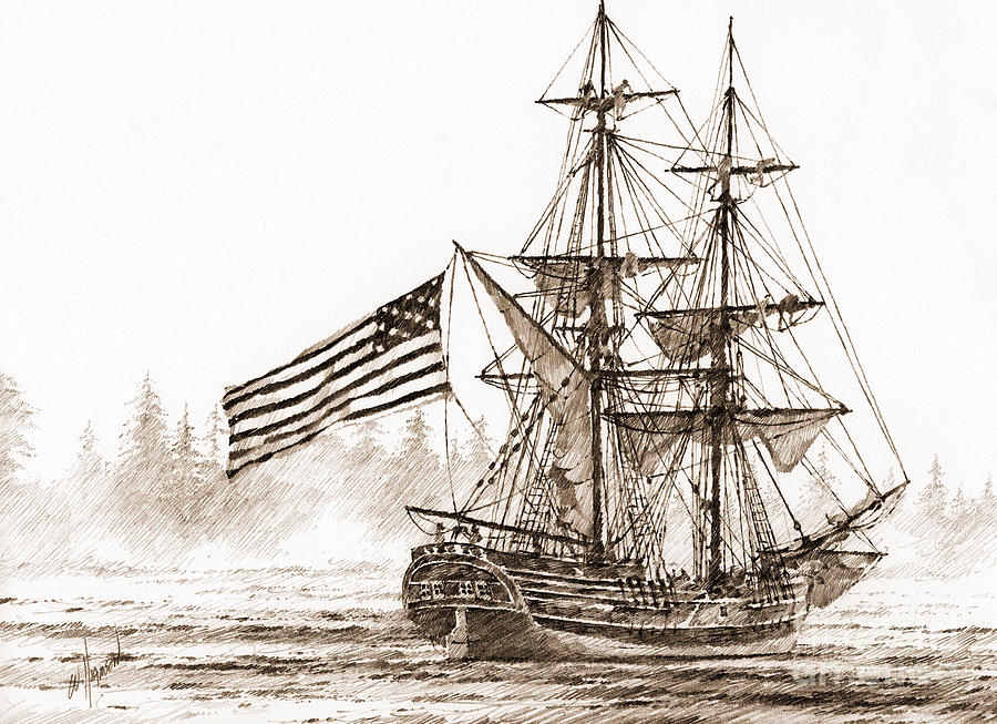 Lady Washington Drawing Drawing - Lady Washington At Friendly Cove Sepia by James Williamson