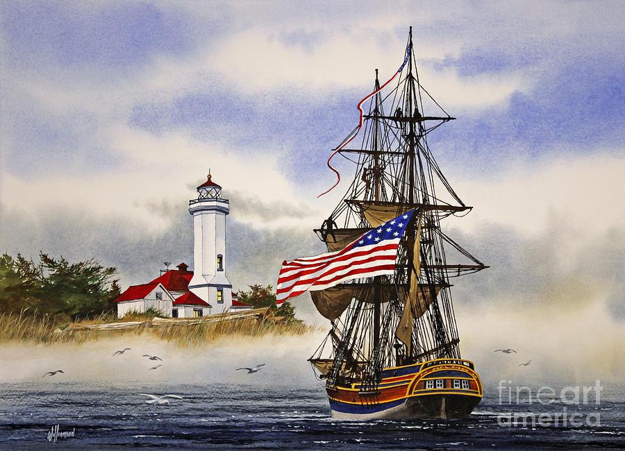 Lady Washington Painting - Lady Washington at Point Wilson Lighthouse by James Williamson