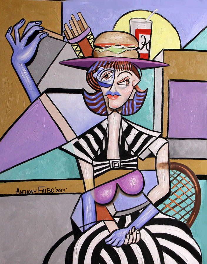 Lady With A Lunch Hat Painting - Lady With A Lunch Hat by Anthony Falbo