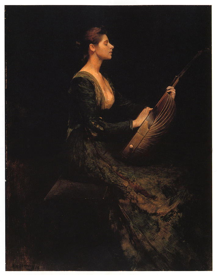 Thomas Wilmer Dewing Painting - Lady With A Lute by Thomas Wilmer Dewing