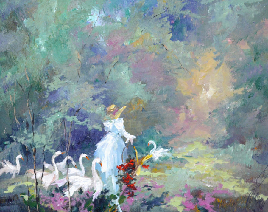 Landscape Painting - Lady With Geese by Steven Nevada