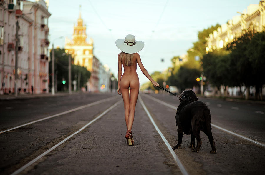 Fine Art Nude Photograph - Lady With Her Dog by Gene Oryx