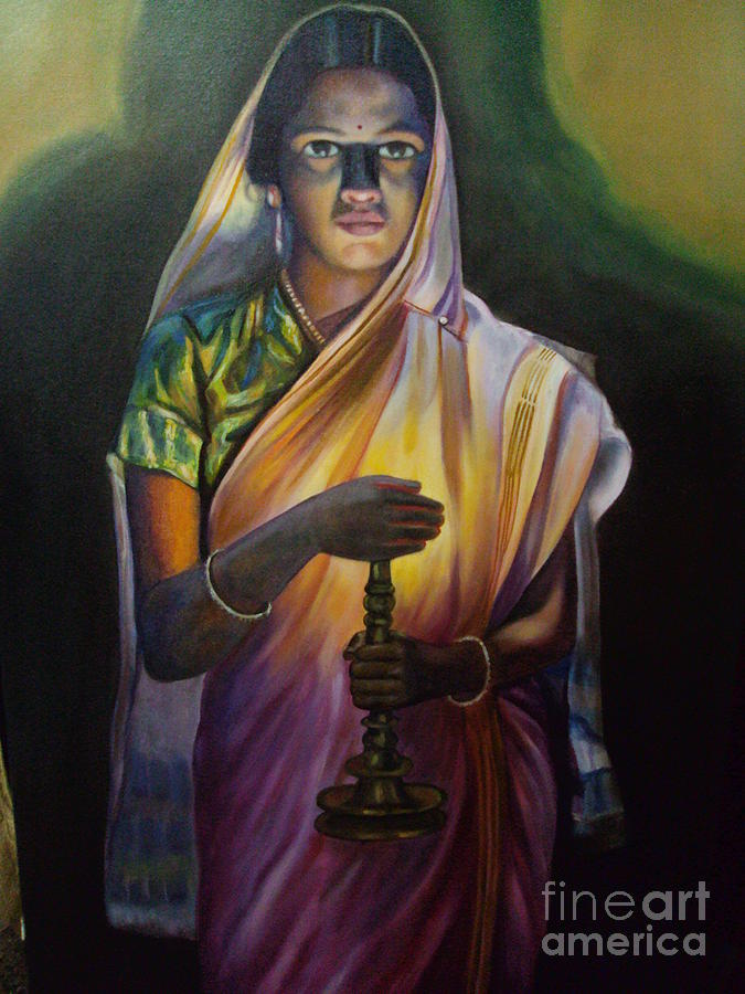Lady With Lamp Painting By Parmesh Mysore