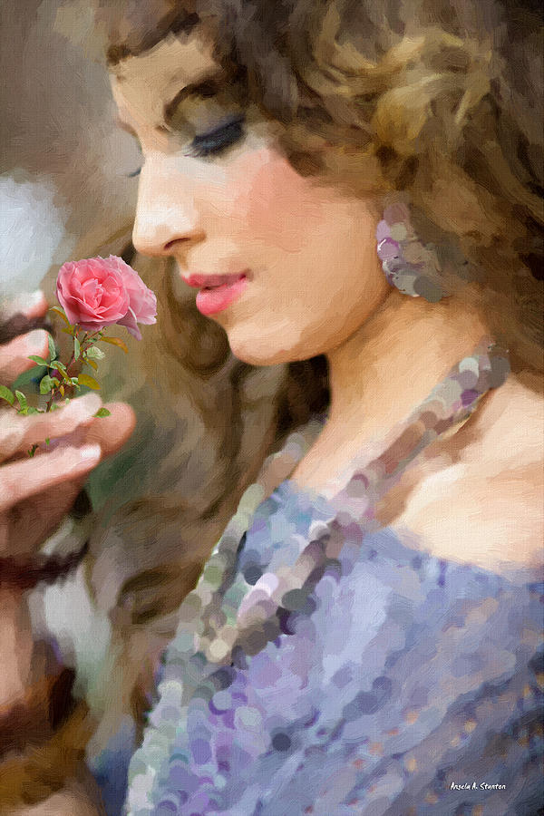 Woman Painting - Lady With Pink Rose by Angela Stanton