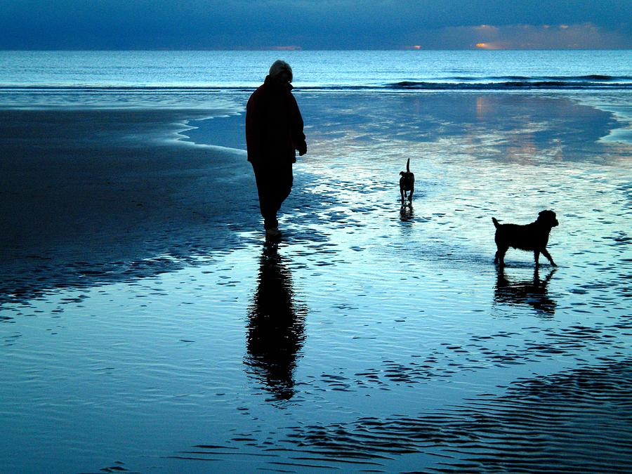 Beach Photograph - Lady With The Little Dogs by Russ Murry