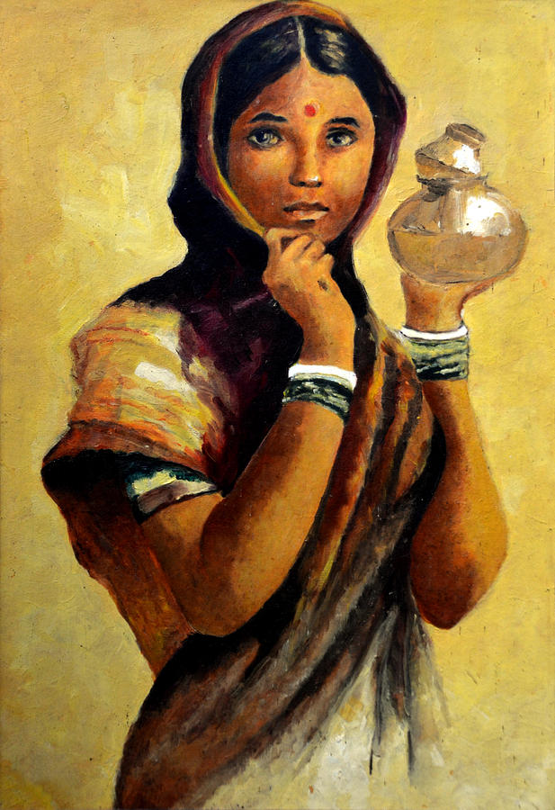Oil Painting Painting - Lady With The Pot by Farah Faizal