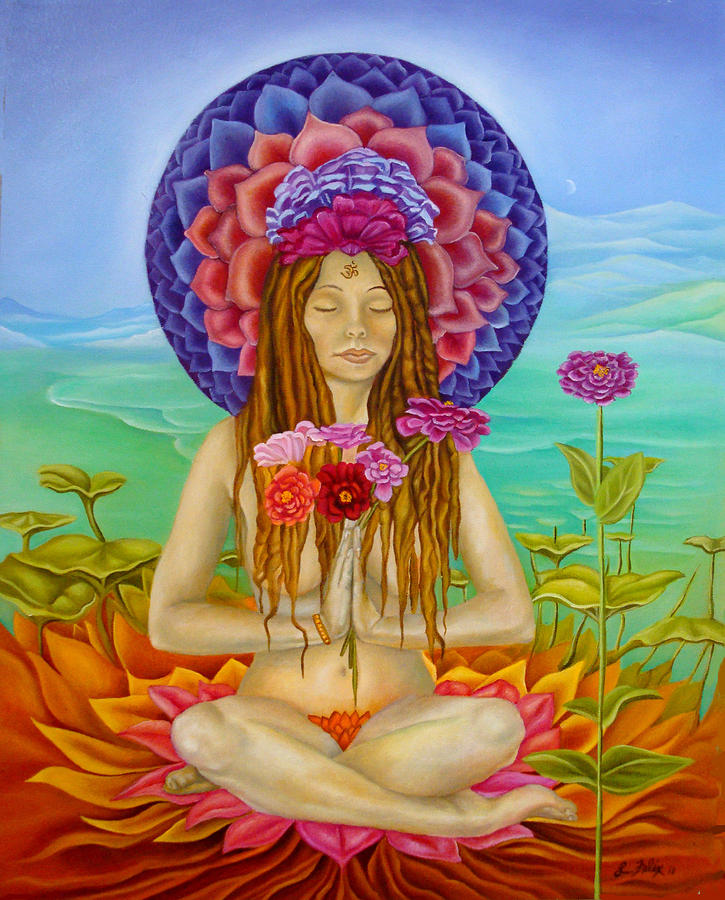 Lotus Pose Painting - Lady Zinnia in the seventh chakra by Lori Felix