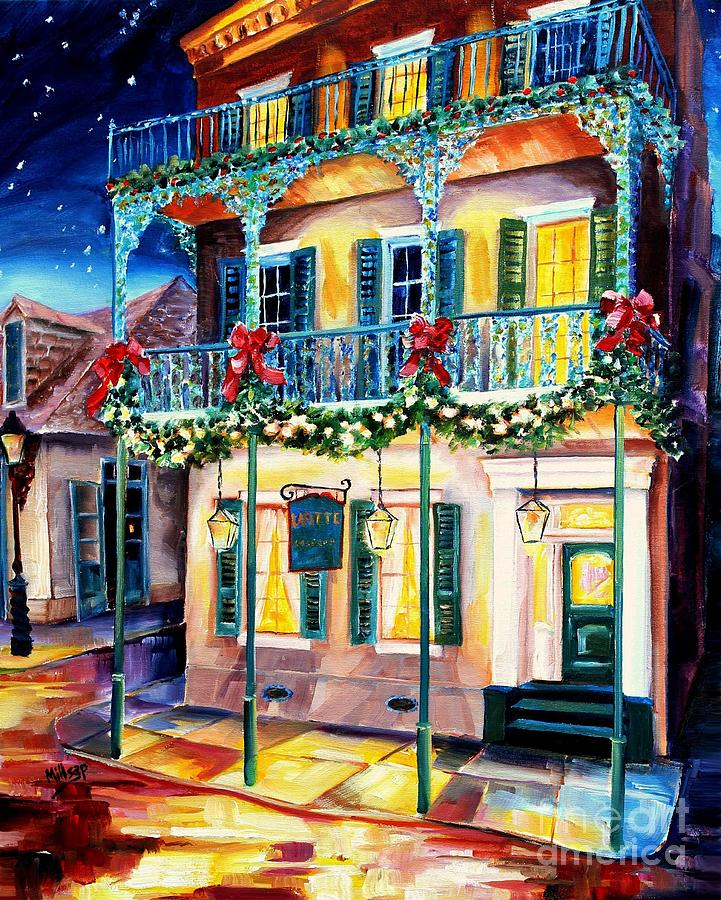 New Orleans Painting - Lafitte Guest House At Christmas by Diane Millsap