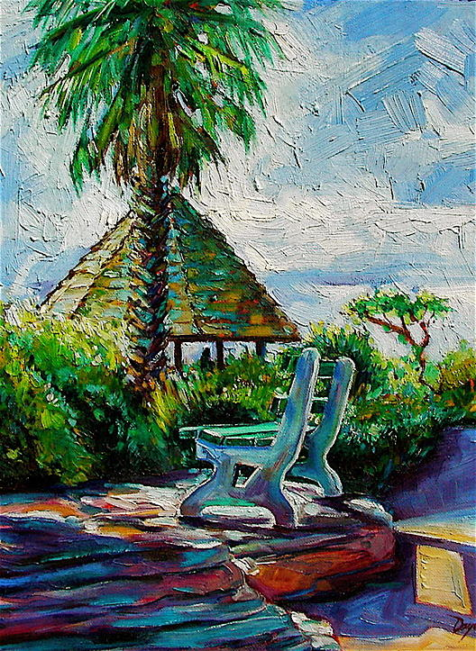 Bench Painting - Laguna Beach Bench by Karen Doyle