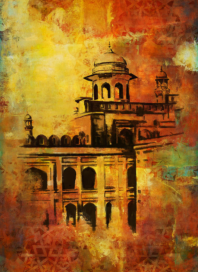 Lahore fort painting by catf for Archaeological monuments in india mural paintings