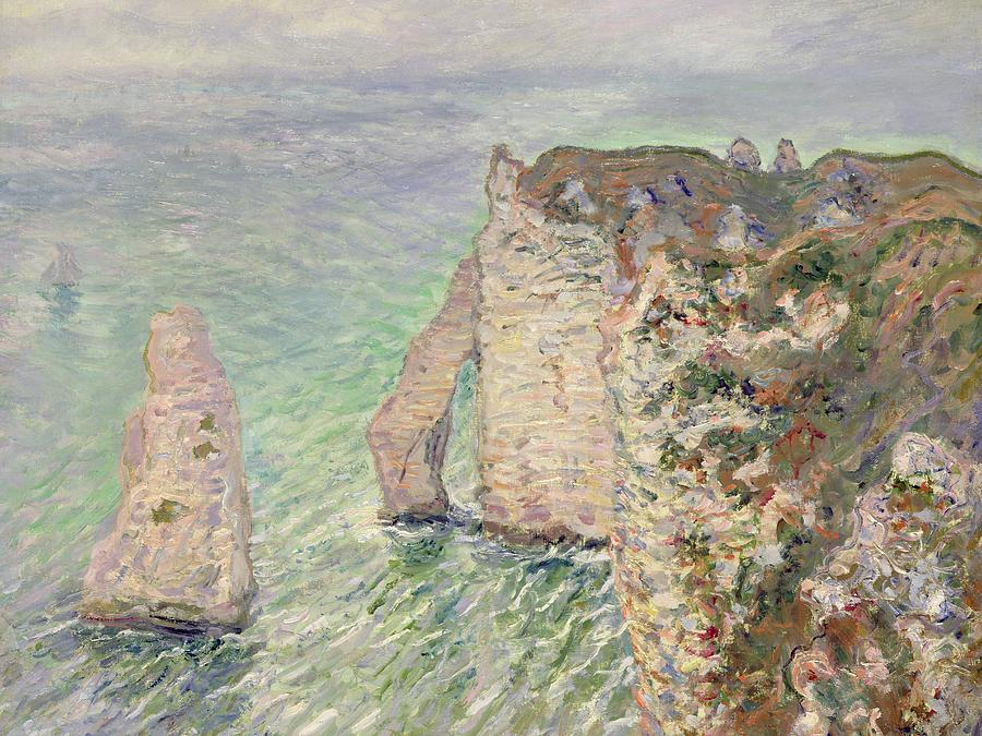 French Painting - Laiguille And The Porte Daval   Etretat by Claude Monet
