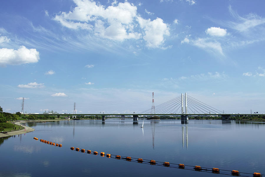 Lake And Cable-stayed Bridge Photograph by Huzu1959