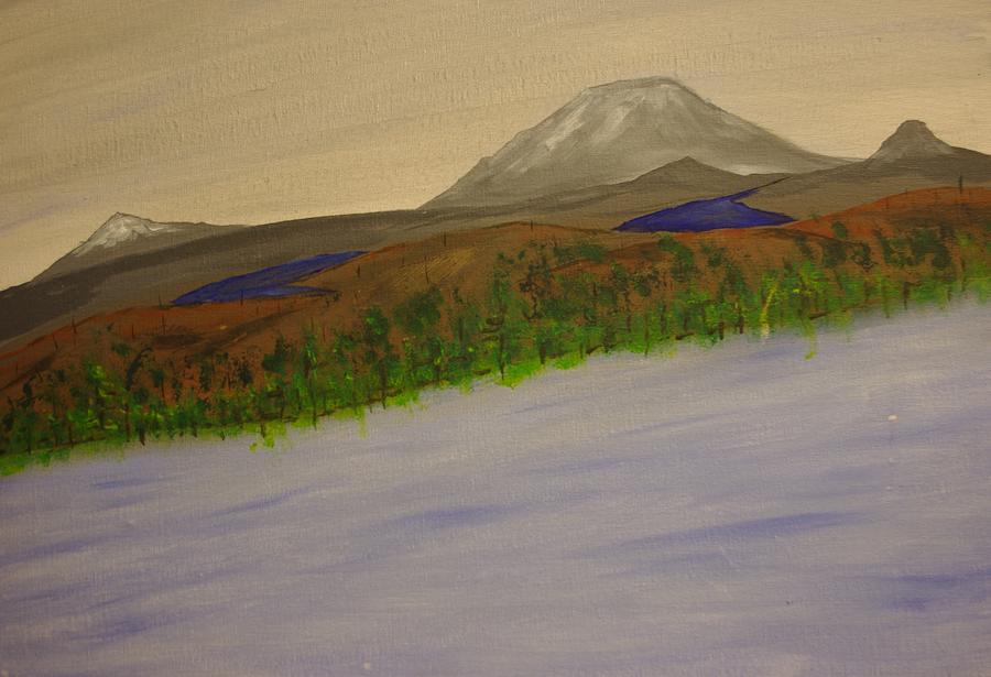 Mountains Painting - Lake And Mountains by Keith Nichols