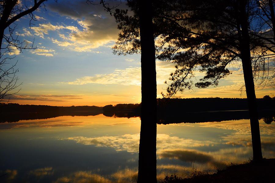 Lake Digital Art - Lake At Sunrise by Kathleen Illes