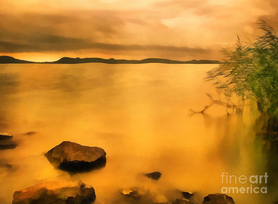 Background Painting - Lake Balaton Sunset Paint by Odon Czintos
