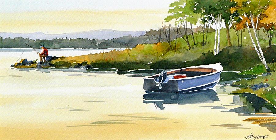 Fly Fishing Painting - Lake Break by Art Scholz