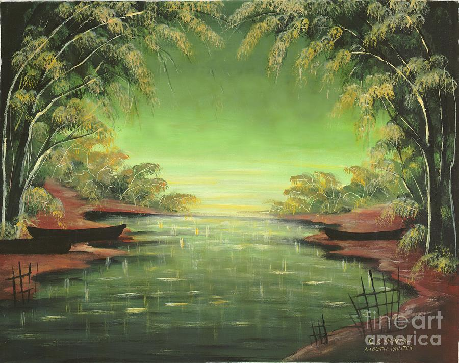 African Painting - Lake By The Forest by Mount painter-Chrisfold Chayera