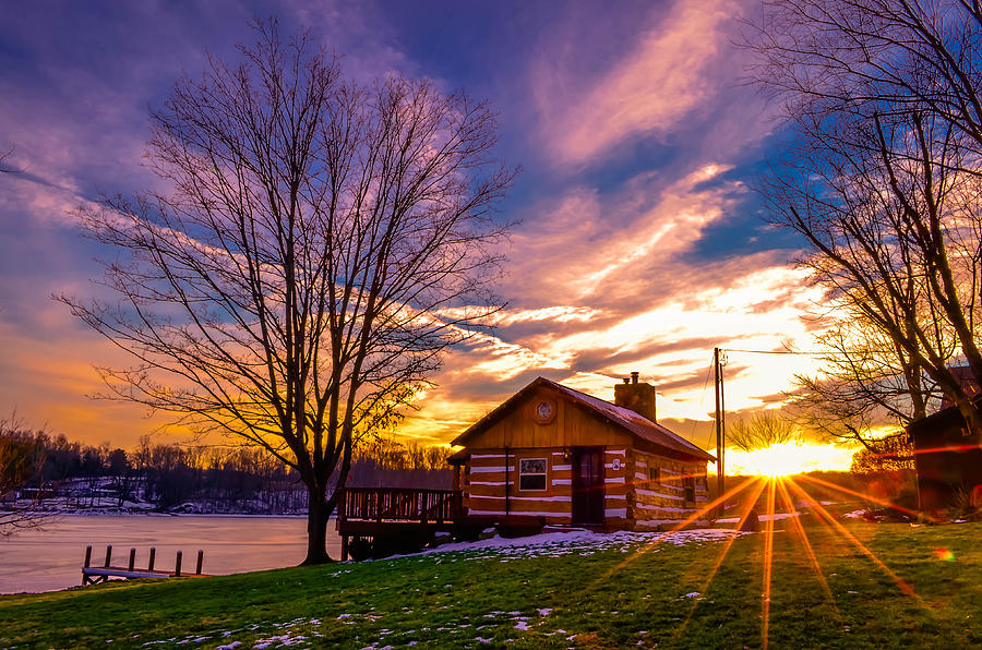 lake cabin sunset photograph by brian stevens