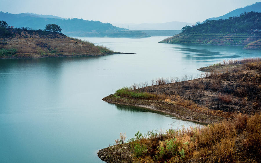 Horizontal Photograph - Lake Casitas In The Fog by Panoramic Images