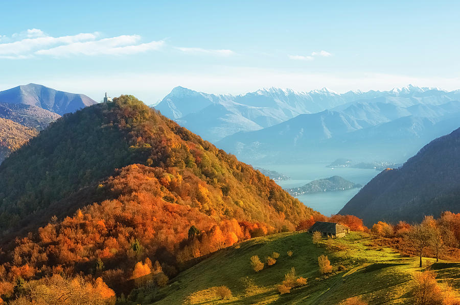 Lake Como Landscape During Autumn From Photograph by Cirano83