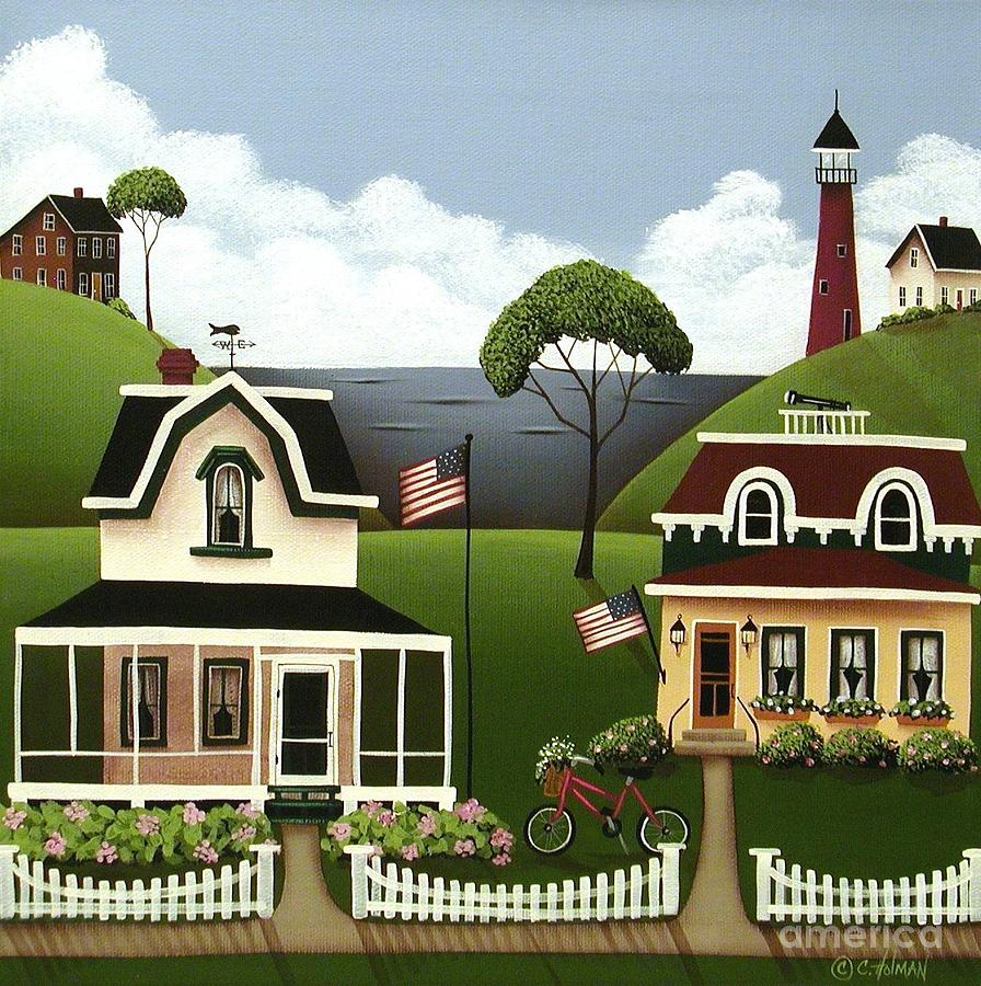 Art Painting - Lake Cottages by Catherine Holman