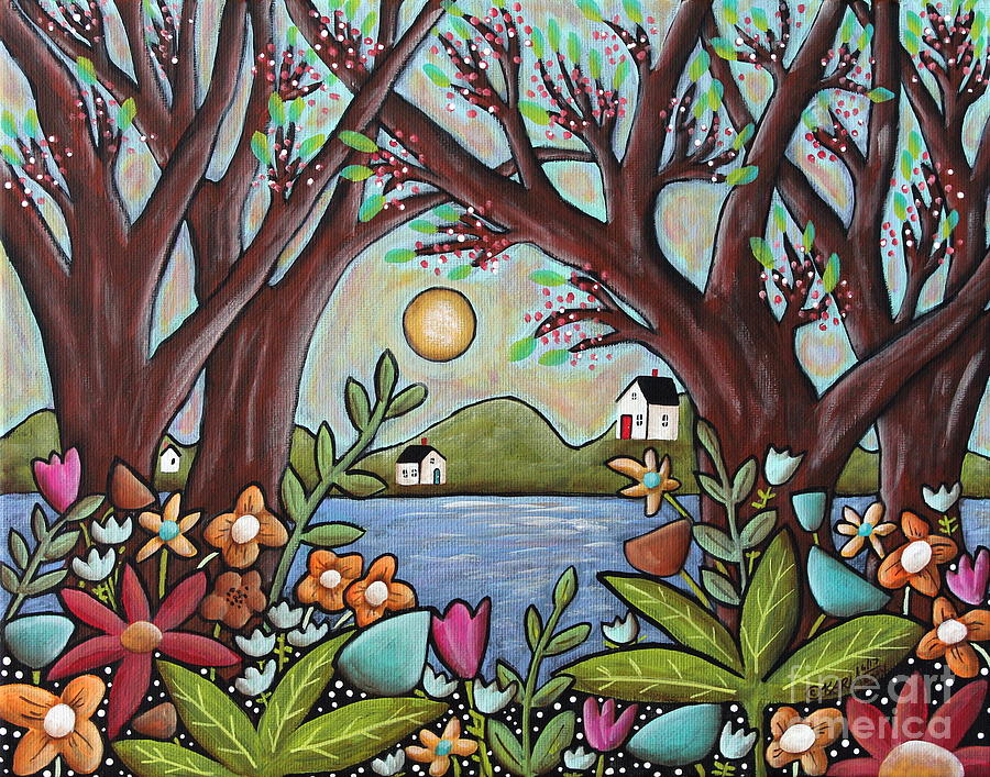 Seascape Painting - Lake Cottages by Karla Gerard