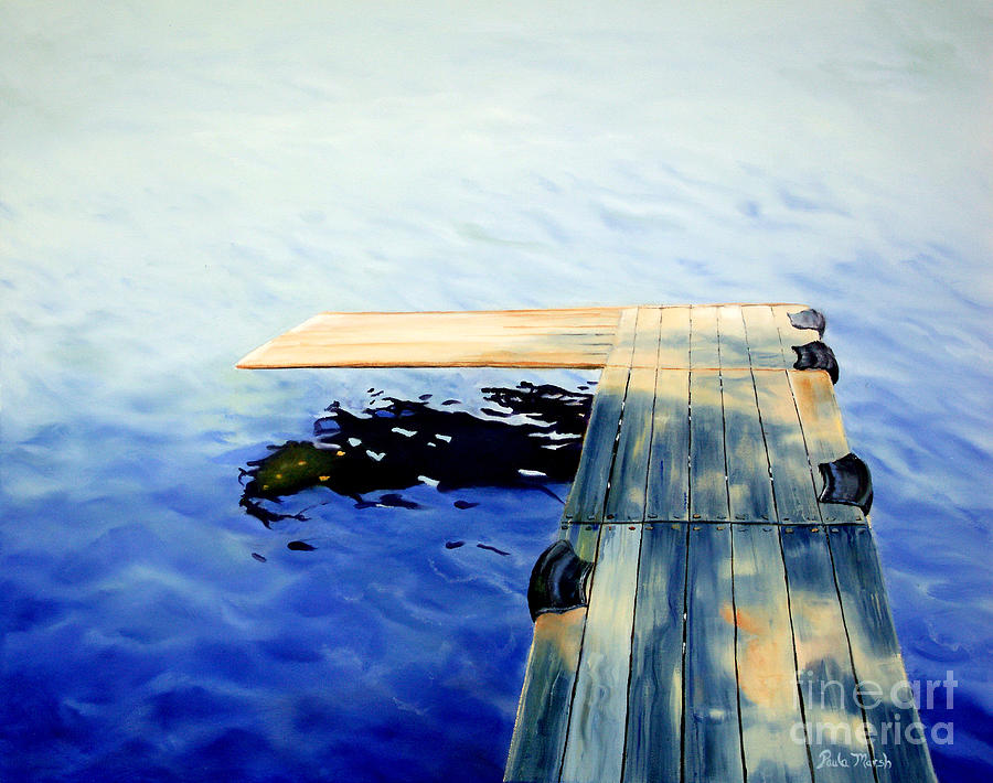 Water Painting - Lake Dock by Paula Marsh