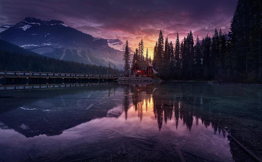 Rocky Photograph - Lake House Sunrise by Jes?s M. Garc?a