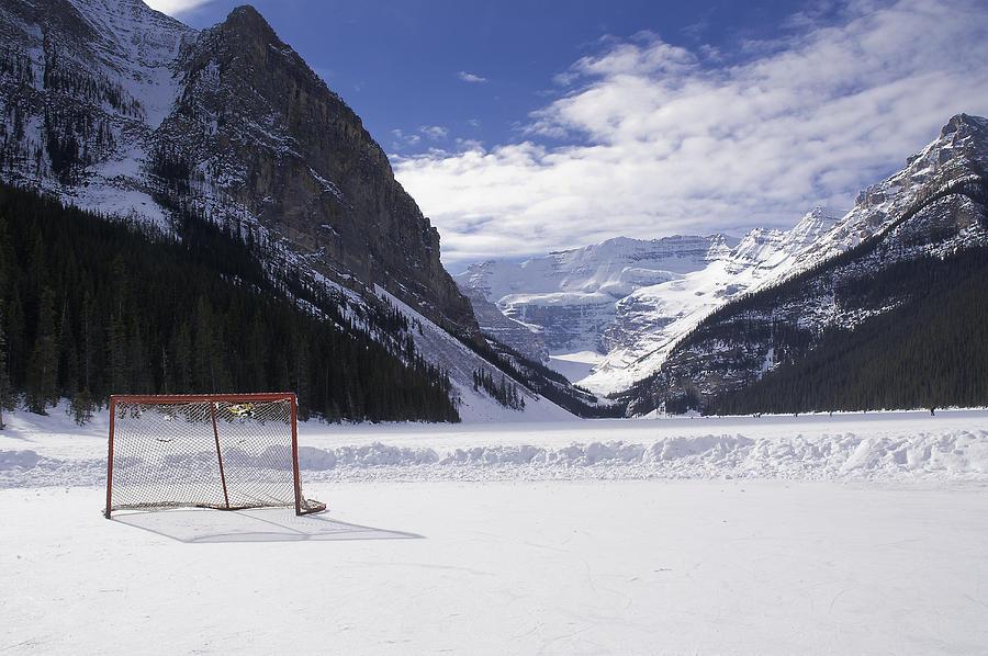 Alberta Photograph - Lake Louise Hockey Net by Bill Cubitt