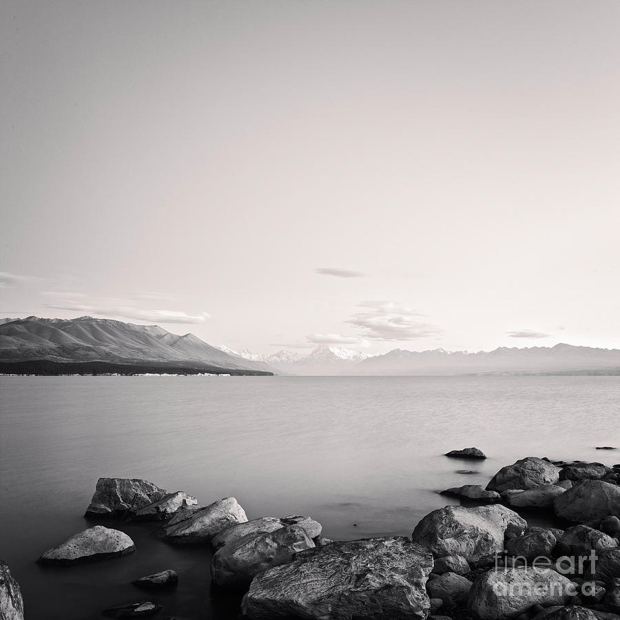 Black & White Photograph - Lake Pukaki And Mount Cook New Zealand. by Colin and Linda McKie