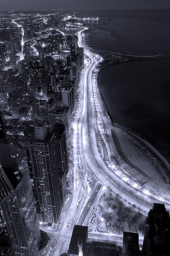 Beach Photograph - Lake Shore Drive Aerial  B And  W by Steve Gadomski