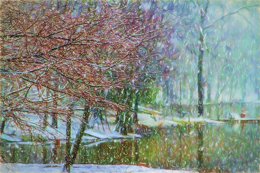 Snow Photograph - Lake Snowfall - Snowy Winter Landscape by Barry Jones