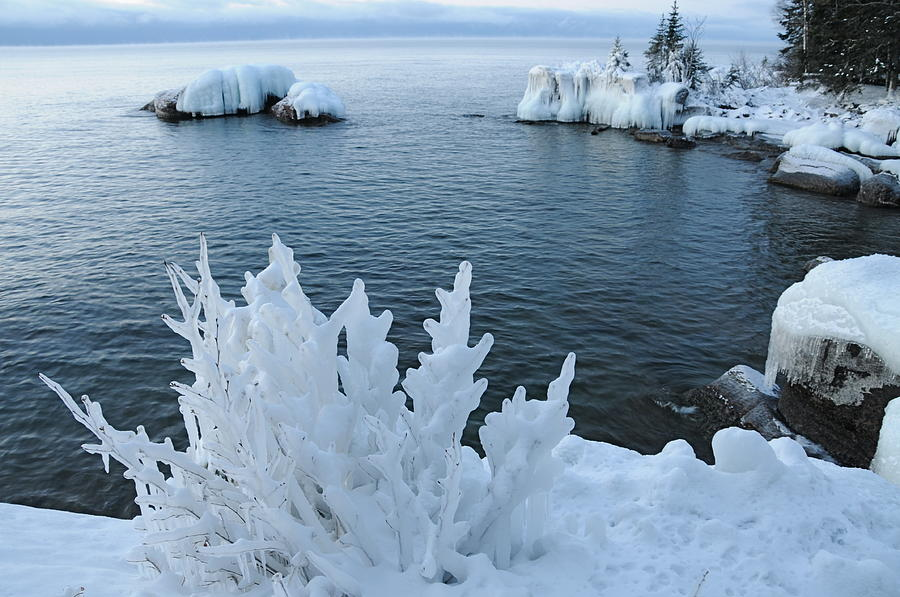 Blues   Ice Storm  Ice  Lake Superior Photograph - Lake Superior Blues by Sandra Updyke