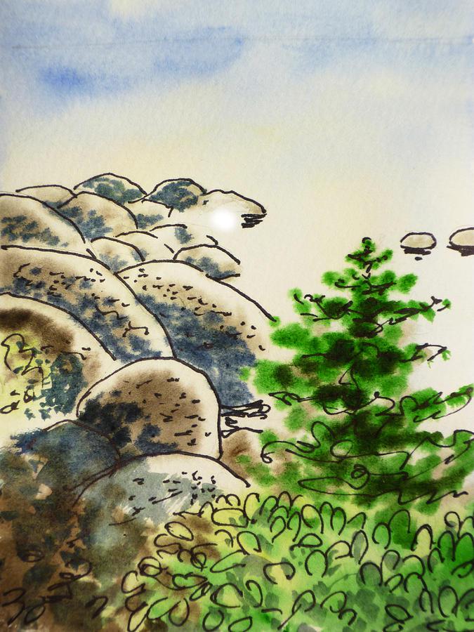 Sketchbook Painting - Lake Tahoe - California Sketchbook Project by Irina Sztukowski