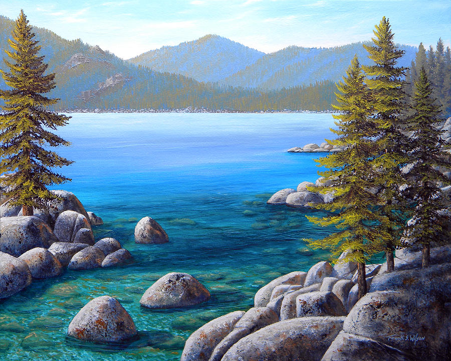 Lake Tahoe Painting - Lake Tahoe Inlet by Frank Wilson