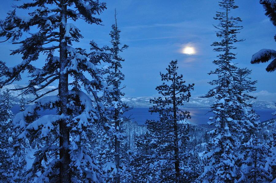 Lake Photograph - Lake Tahoe Moonset by Bruce Friedman