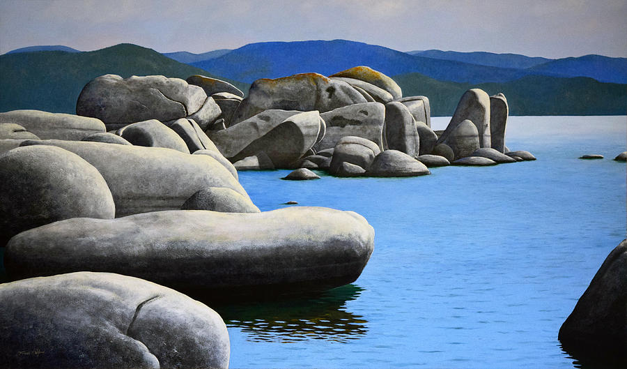 Lake Tahoe Painting - Lake Tahoe Rocky Cove by Frank Wilson
