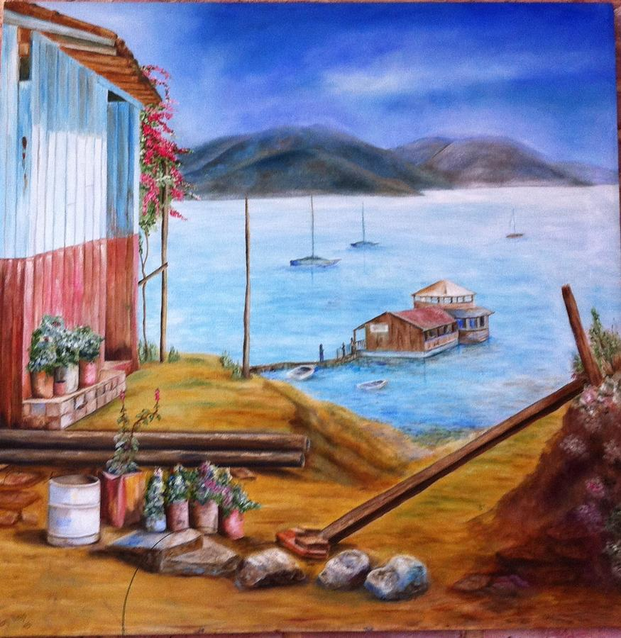 Lake Blue Houseboat Mountain House Sky Painting - Lake Valle De Bravo Mexico by Nora Vega