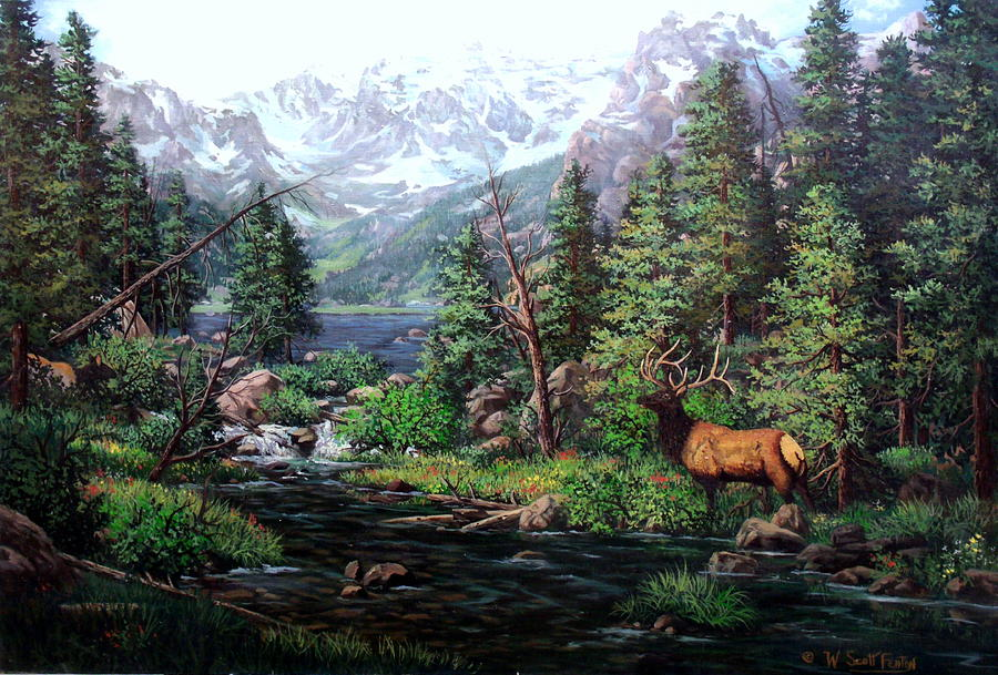 Lakeverna Painting - Lake Verna Elk by W  Scott Fenton